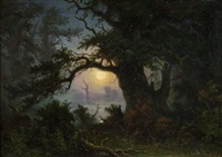 paysage marécageux au clair de lune by knud andreassen baade