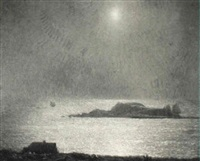 full moon, gloucester harbor by richard andrew