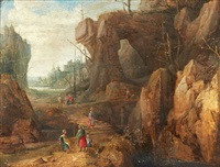 paysage de falaises animées de personnages by joos de momper the younger