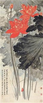 重彩金线红荷 立轴 纸本 by zhang daqian