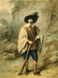 portrait d'homme au fusil by jean baptiste madou