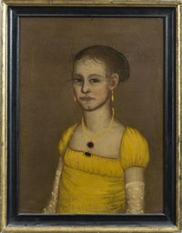 jerusha rogers washburn in a yellow gown and long lace sprigged gloves by ammi phillips