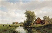 a polder landscape with cattle in a meadow, haarlem in the distance by willem vester