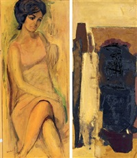 portrait of a lady (+ abstract; 2 works) by fu-sheng ku