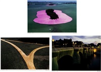 surrounded island/ road/ bridge and river (photographed by wolfgang volz) (set of 3) by christo and jeanne-claude