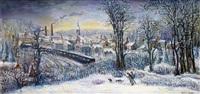 le retour des chasseurs sous la neige by jean raffy le persan