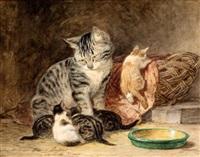 moederpoes met vier kittens by henriette ronner-knip