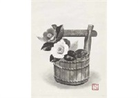 red and white camellia in bizen pail by akira akizuki