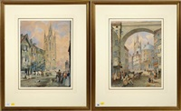 views of old newcastle - lower dean street from the side, and st. nicholas church from the groat market (pair) by thomas h. hair