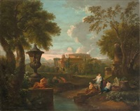 arcadian roman landscape with colosseum by jan frans van bloemen