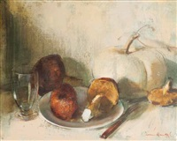 a still life with mushrooms and a pumpkin by irmin henkel