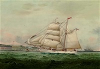 "the american yacht ""atalanta"" probably passing fort adams, newport by william gay yorke"