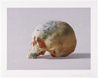 studio half skull, half face (with diamond dust) by damien hirst