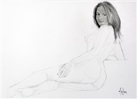 illustration à la mine de plomb représentant une jeune fille dénudée allongée by aslan