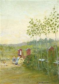 family scene at la panne by ivan pavlovich pokhitonov