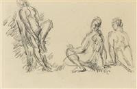 trois baigneuses (+ paysan avec chien, verso) by paul cézanne