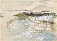 河塘图 镜框 by wu guanzhong
