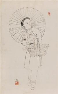 苗族少女 by pang xunqin