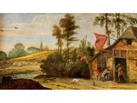 baumlandschaft mit einer anhöhe und einer wirtshauskate mit figurenstaffage by jan-peter van bredael the younger