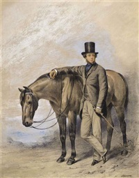 portrait of a gentleman, standing full-length beside a horse, his crop in his hand by william barraud