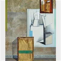 tea chest with traveller and modern art by robert young