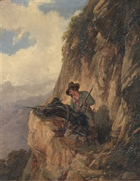 due cacciatori in montagna by pompeo pozzi