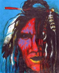 portrait in headdress by dale auger