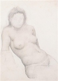 female nude, study (+ 3 others; 4 works) by thomas cooper gotch