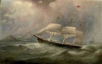 """the black ball line clipper ship """"ocean chief"""" reducing sail on her australian run by duncan mcfarlane"""