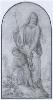 die madonna mit dem kinde in szenischer darstellung vor gebirgiger landschaft by philipp veit