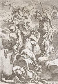 athena mit den musen und allegorischen darstellungen des lichts, der harmonie und der zeit by antoine rivalz