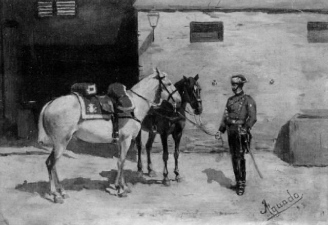 kavallerist mit zwei pferden vor dem stall by josé aguado y guerra