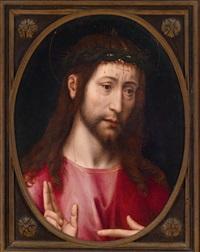 segnender christus (+ trigramm, verso) by hans memling