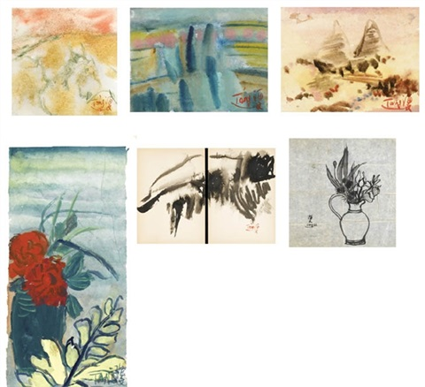 abstract landscape and flower 6 works various sizes by tang haywen