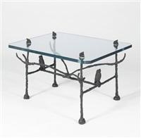 table basse trapezoïdale, modèle aux hiboux et aux grenouilles by diego giacometti