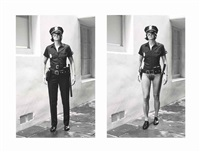 evi as cop, half-naked and dressed, beverly hills, march by helmut newton