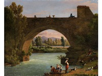 grosse steinbrücke in italienischer flusslandschaft mit staffagefiguren by carlo labruzzi