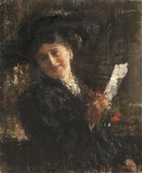 ritratto di signora con lettera by antonio mancini