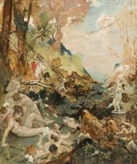 scène de chasse à courre perturbant le bain des nymphes by fernand cormon