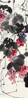 葡萄 立轴 设色绢本 by qi liangsi