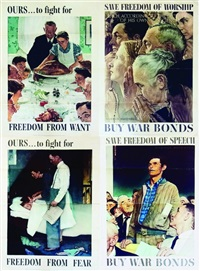 freedom (set of 4) by norman rockwell