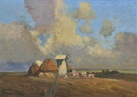 european farm scene by emile bednes