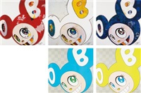 and then x 6 red; and then x 6 (white: the superflat method, blue and yellow ears); and then x 727 (ultramarine: gunjo); dob in pure white robe (pink & blue); and dob in pure white robe (navy & vermillion) (5 works) by takashi murakami