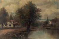 spring landscape with cottages and geese by joseph langsdale pickering