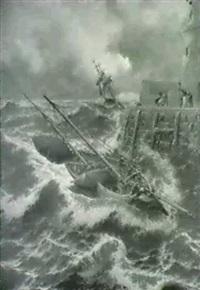 efter en stormfuld nat ved battery breakwater douglas, isle of man by j. r. miles