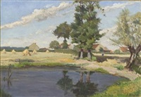 reflective pond and bright sky by lucien bleyfus