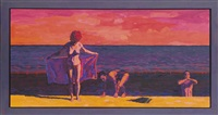 study for end of day bathers by graham nickson