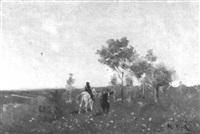 sommerliche wiesenlandschaft mit zwei soldaten by louis raoul arus