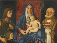 the madonna and child, flanked by saint john the baptist by giovanni bellini