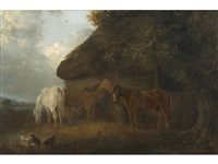 horses and chickens before a barn by edward robert smythe